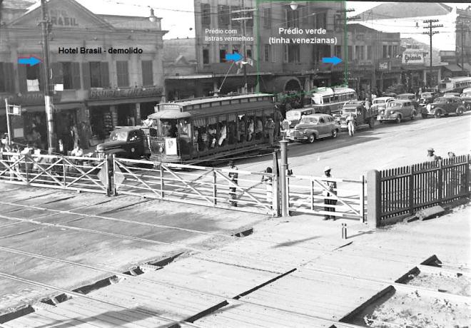 1950 Porteiras do BrásFlechas azuis: postes ainda existentes
