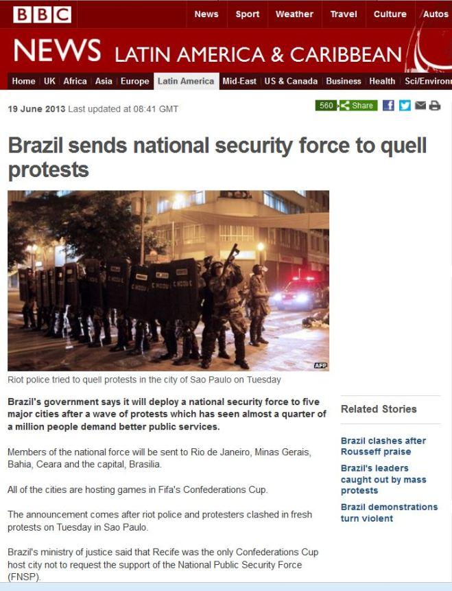 Brasil manda força policial nacional para reprimir protestos BBC, Reino Unido