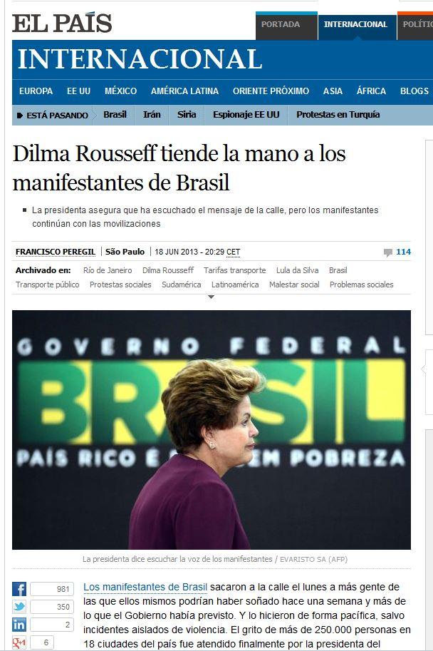 Dilma Rousseff estende a mão aos manifestantes El País, Espanha