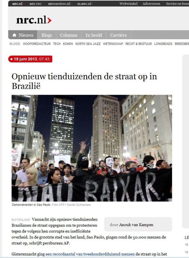 Dezenas de milhares de novo nas ruas do Brasil NRC, Holanda