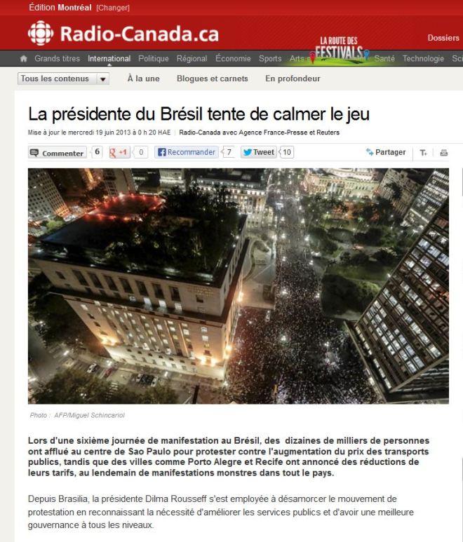 A presidente do Brasil tenta acalmar os ânimos Radio Canada, Montréal