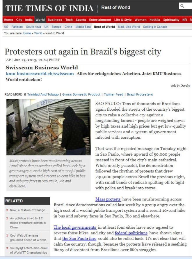 Manifestantes saem de novo na maior cidade do Brasil The Times of India, Índia
