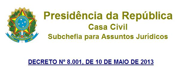 Decreto n° 8001 Presidência da República