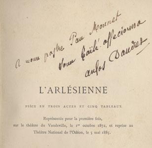 L'Arlésienne com dedicatória do autor