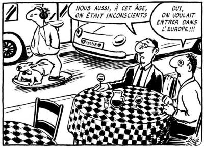 « ― Nessa idade, nós também éramos inconscientes» « ― É verdade, queríamos até aderir à União Europeia» by Bénédicte, desenhista suíça