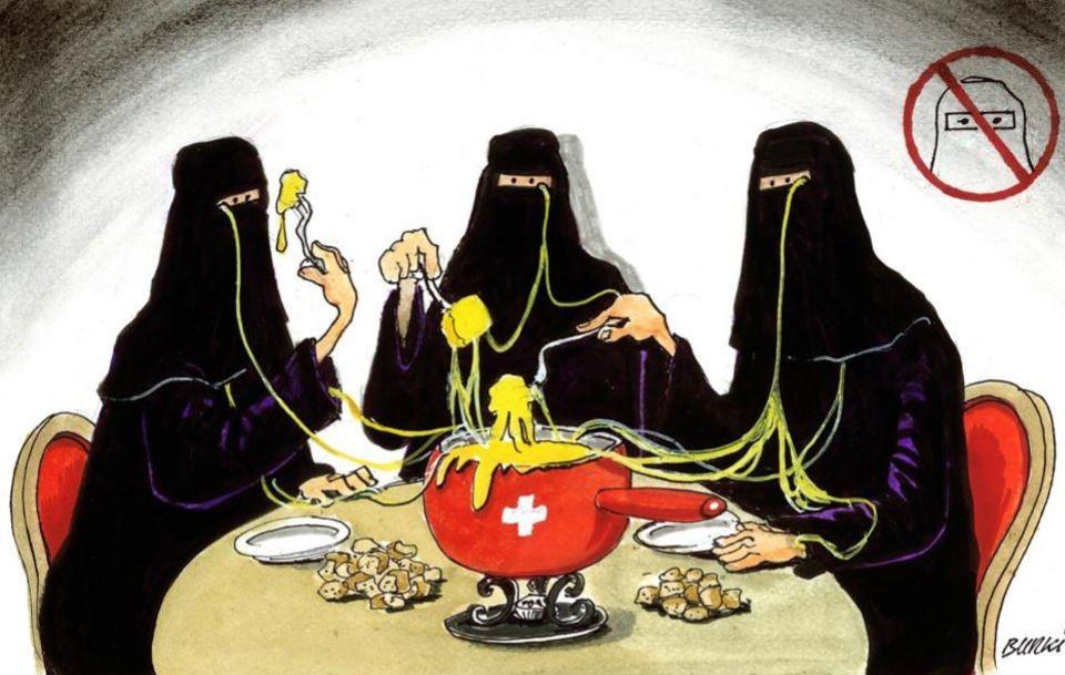 A burca está em vias de ser proibida na Suíça by Burki, desenhista suíço