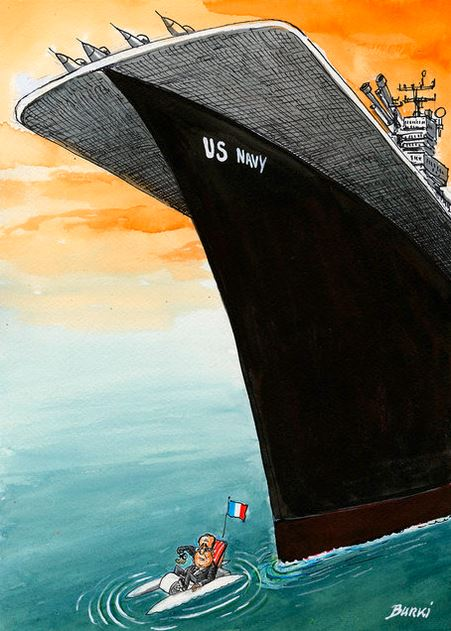 Obama e Hollande prontos para atacar a Síria by Burki, desenhista suíço