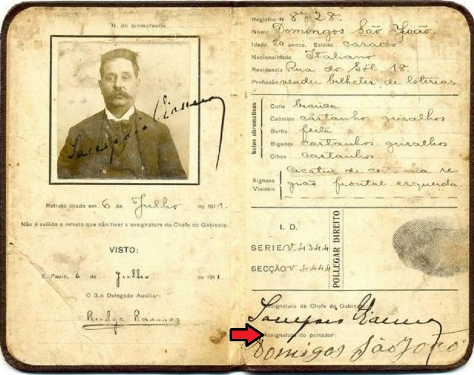 Carteira de Identidade ― Início do séc. XX