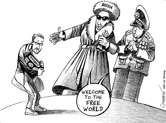 Bem-vindo ao mundo livre! by Chappatte, desenhista suíço