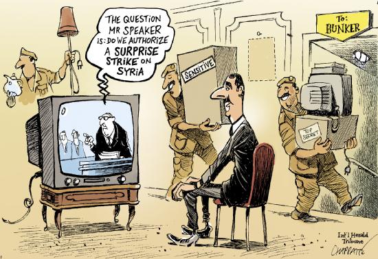 A questão, senhor moderador, é: devemos autorizar um ataque de surpresa à Síria? by Chappatte, desenhista suíço