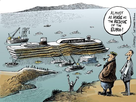 Quase tão gigantesco quanto o salvamento do euro! by Chappatte, desenhista suíço