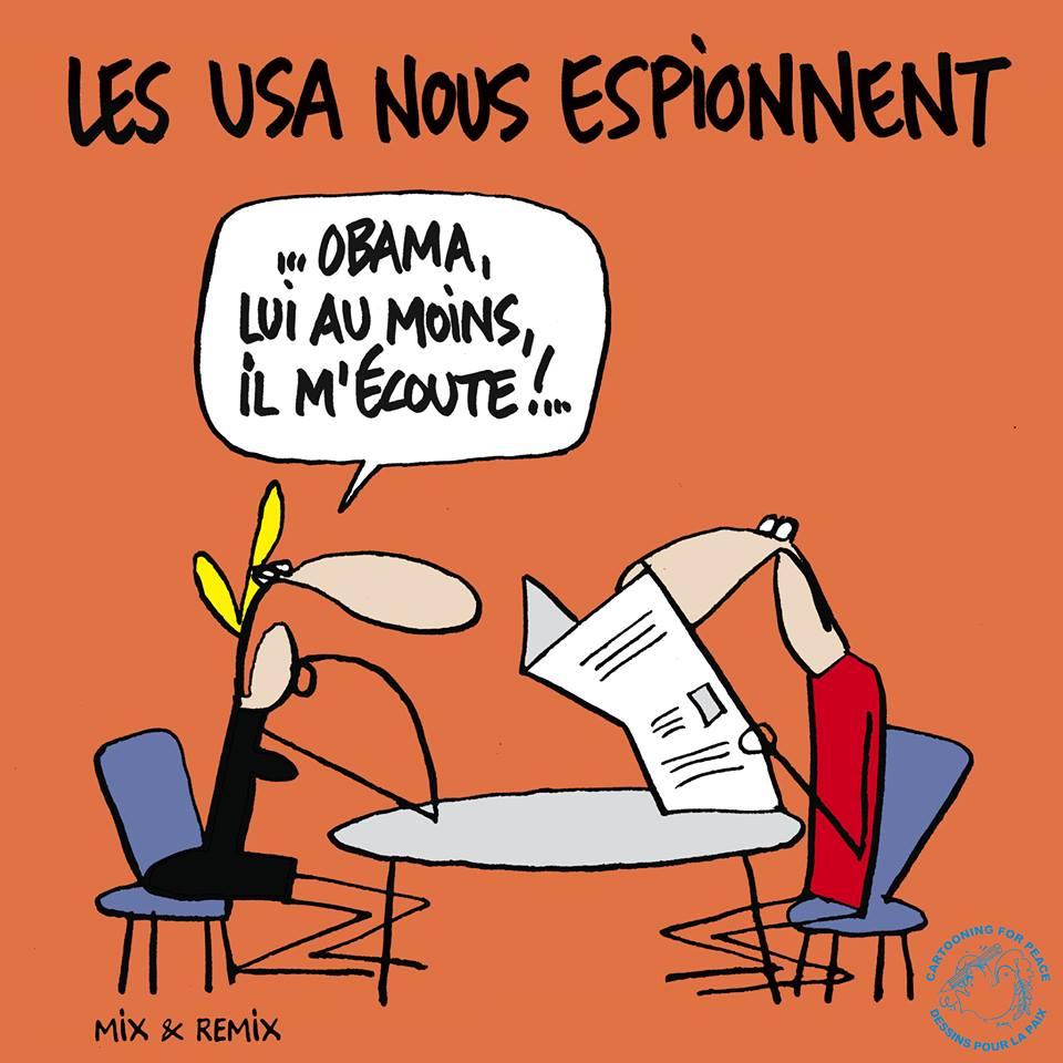 """Espionagem americana """"Obama, pelo menos, me escuta!"""" by Mix & Remix, desenhista suíço"""