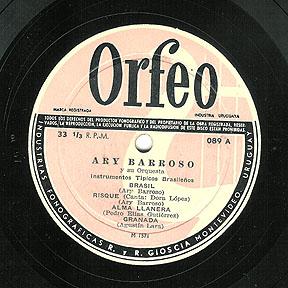 Disco de Ary Barroso & orquestra prensado no Uruguai, anos 50