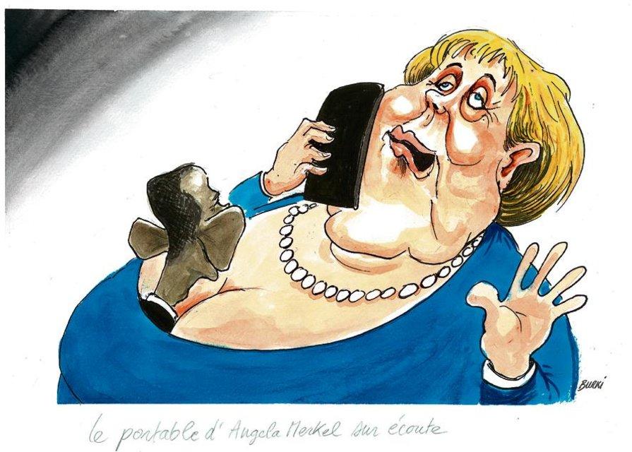 O celular de Angela Merkel bisbilhotado by Burki, desenhista suíço
