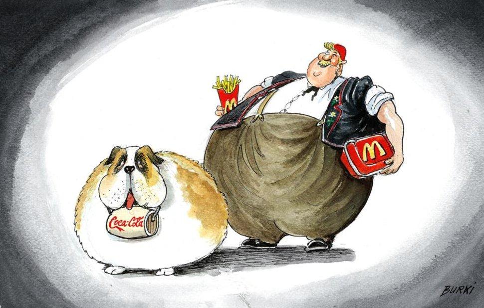 Segundo as estatísticas, os suíços estão cada dia mais gordos by Burki, desenhista suíço