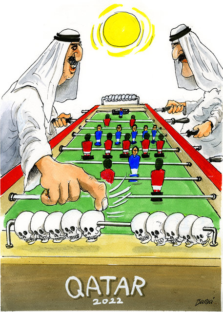 A Copa do Mundo de 2022 terá lugar no Catar by Burki, desenhista suíço