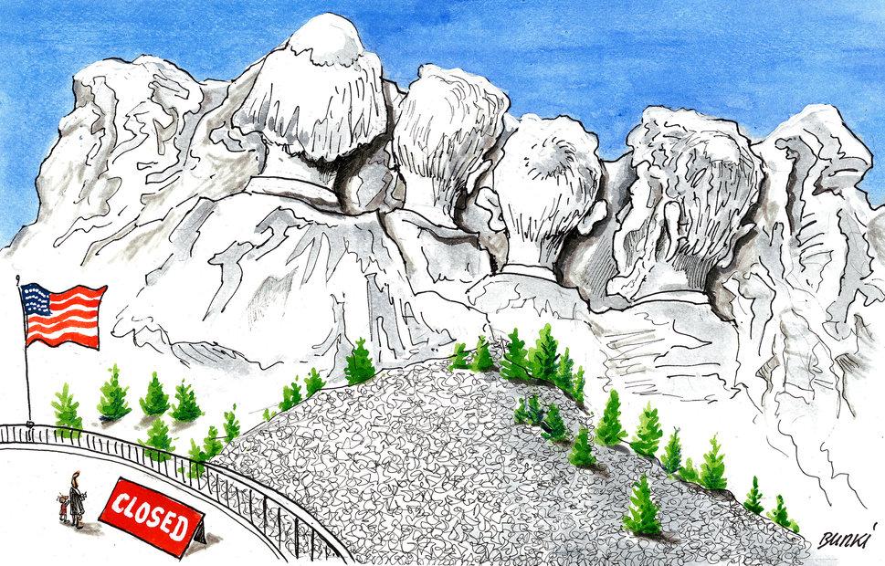 Mount Rushmore e suas estátuas durante o shutdown by Burki, desenhista suíço