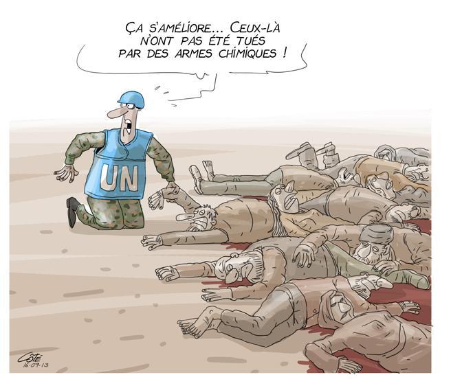Estamos melhorando... Estes não foram atingidos por armas químicas! by Philippe Côté, desenhista canadense