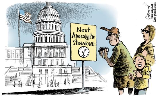 EUA ― Governo bloqueado by Patrick Chappatte, desenhista suíço