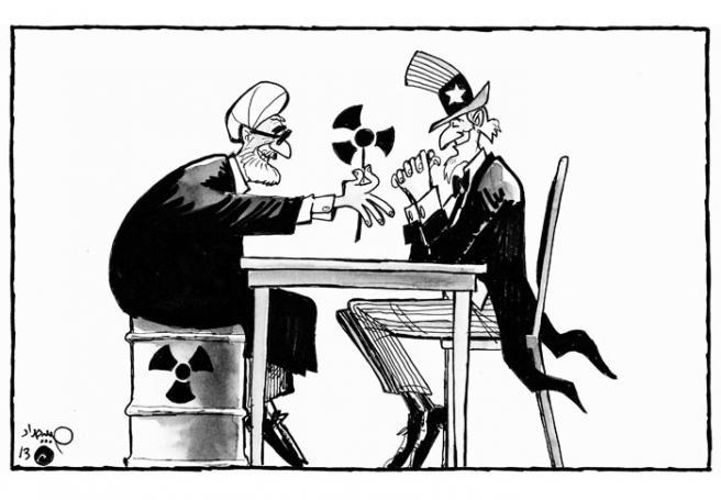 Negociações Iran - EUA by Habib Haddad, desenhista libanês