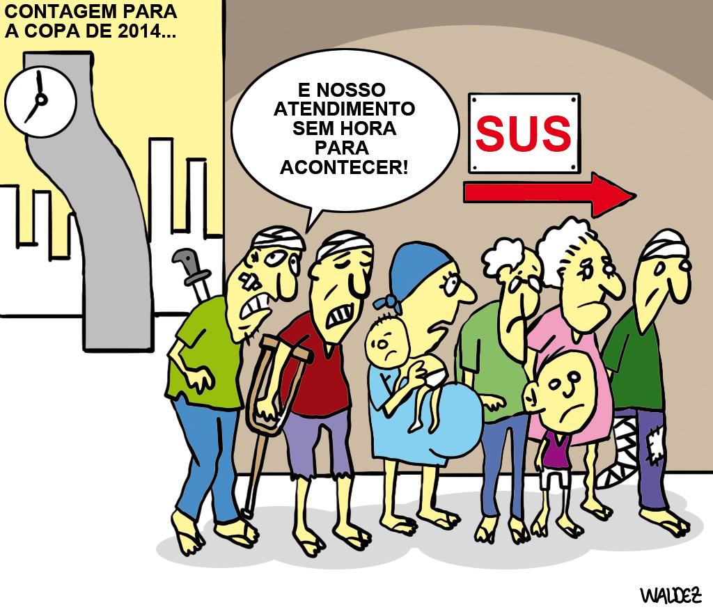 A Copa e a fila do SUS by Waldez Duarte, desenhista paraense