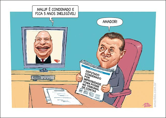 Trambiques politiqueiros vistos por Amarildo Lima, desenhista capixaba