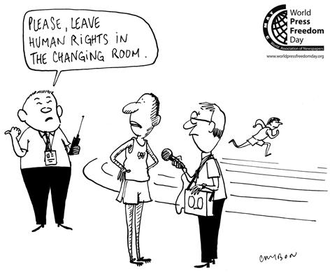 Queira deixar os direitos humanos no vestiário, se faz favor. by Michel Cambon, desenhista francês
