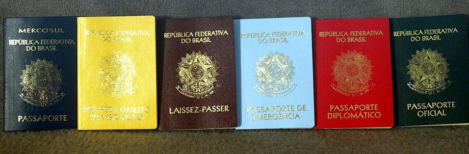 Diferentes passaportes emitidos pelo Brasil: comum, laissez-passer, de emergência, diplomático, oficial