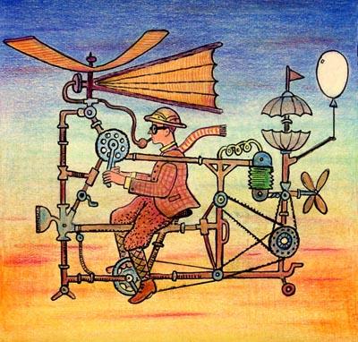 Reinventando o avião by Glen Baxter, desenhista inglês