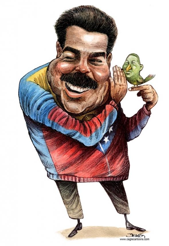 Nicolas Maduro Moros y su pajarito by Darío Castillejos, desenhista mexicano