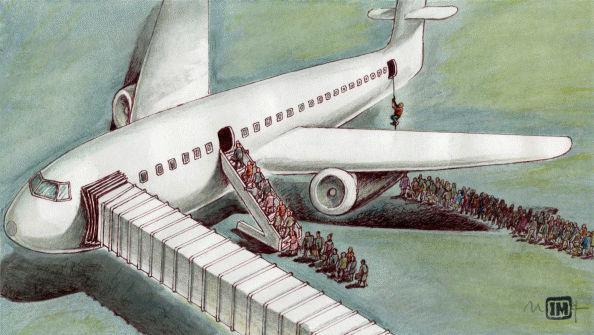 First class, Executiva e Econômica vistas por Mihai Ignat, desenhista romeno