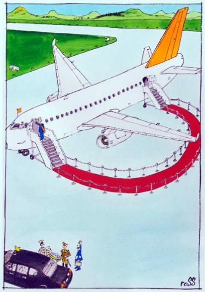 Visita curta ― saguão de aeroporto desnecessário by Ross Thomson, desenhista inglês