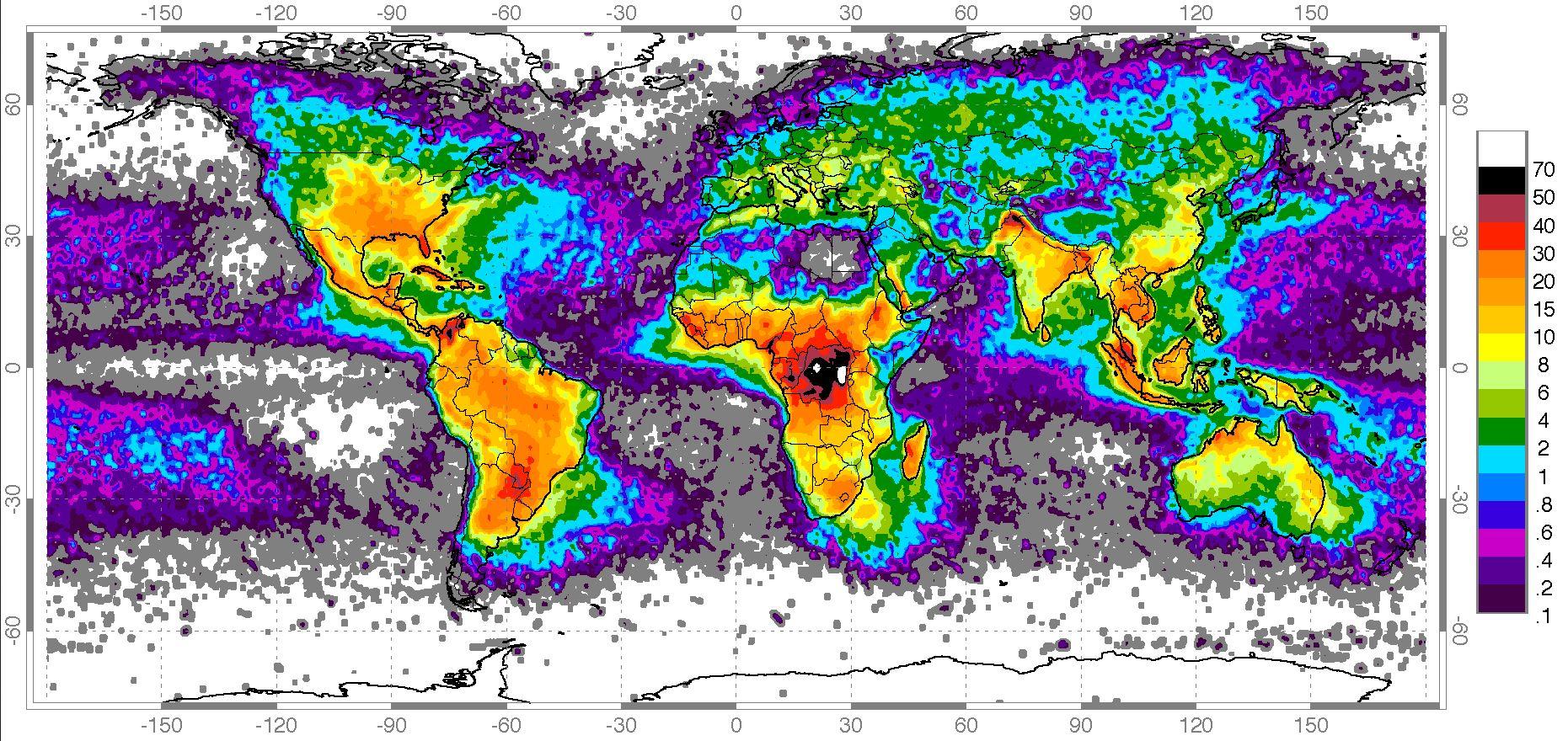 Frequência de raios que atingem o solo (n° de ocorrências por km2 por dia) Crédito: Nasa.gov