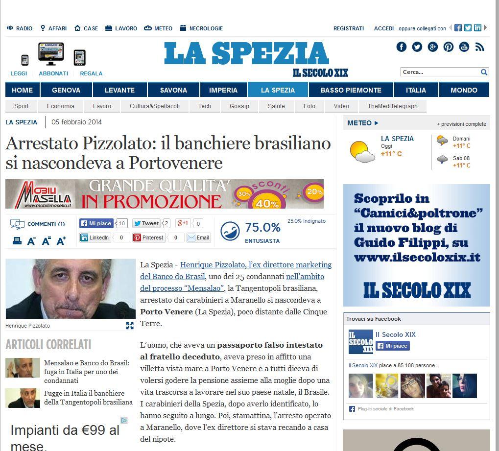 Preso Pizzolato: o banqueiro brasileiro estava escondido em Portovenere