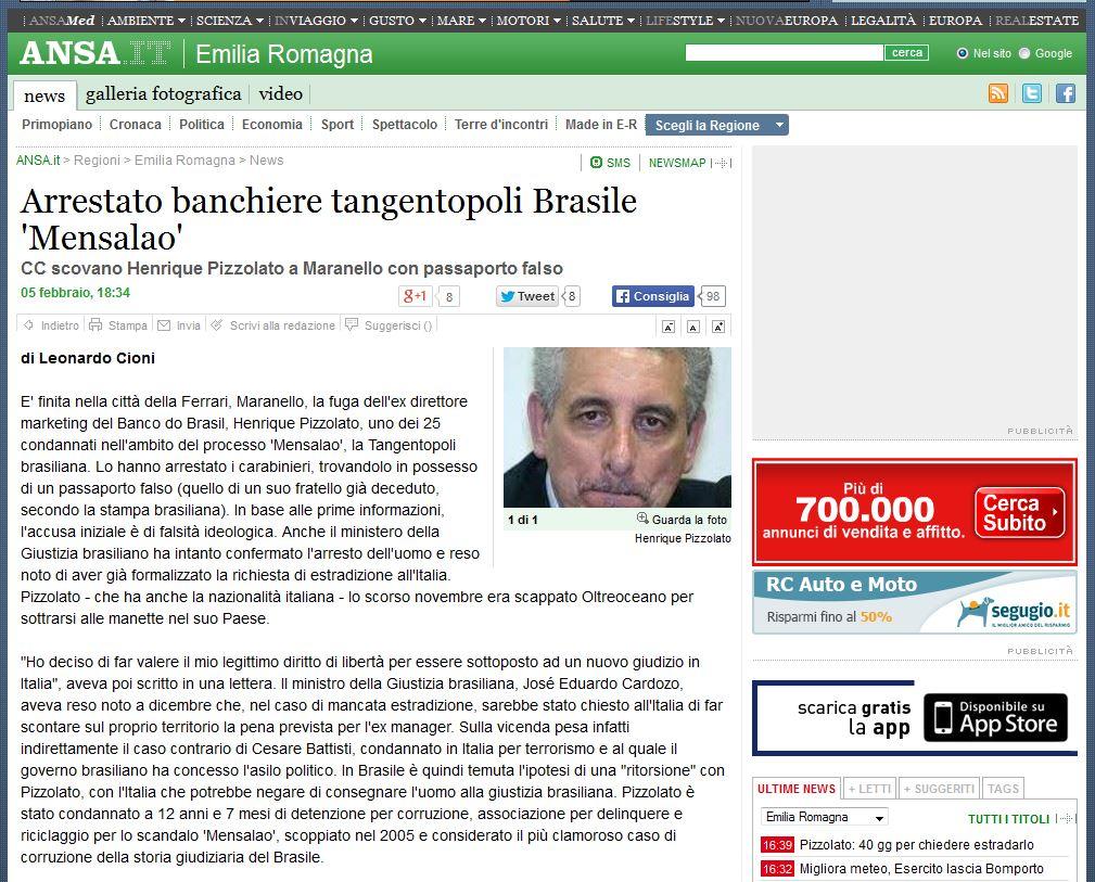 """Preso banqueiro integrante do """"mensalao"""" brasileiro"""
