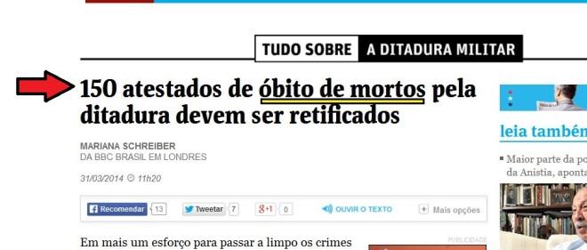Folha de São Paulo online, 31 mar 2014