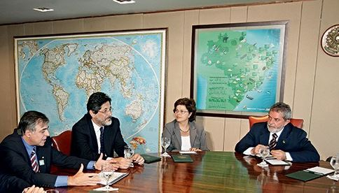 Petrobras 2006: os mandachuvas Lula, Dilma, Gabrielli e o diretor atualmente encarcerado. Foto Ed.Ferreira/Estadão