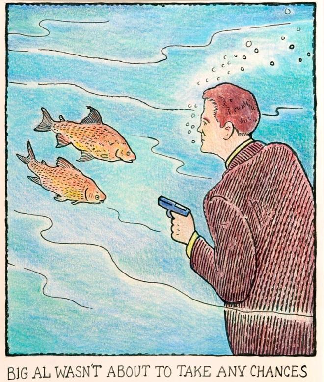 Alfredão não estava disposto a correr nenhum risco. by Glen (Colonel) Baxter, desenhista inglês