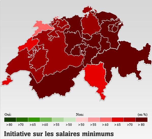 Voto sobre o salário mínimo Resultado de cada cantão