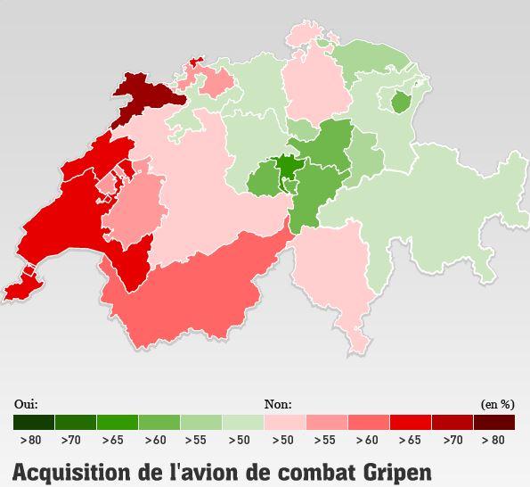 Voto sobre os caças Gripen Resultado de cada cantão