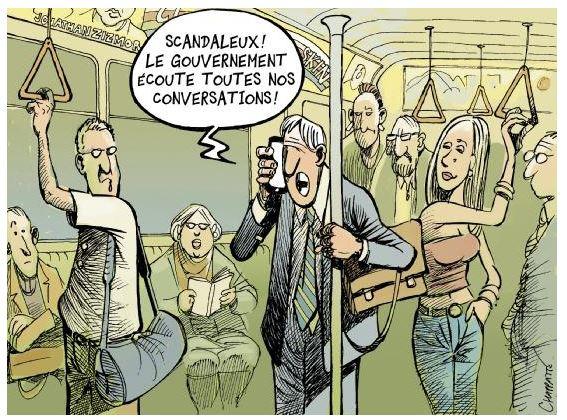 É um escândalo! O governo escuta todas as nossas conversas! by Patrick Chappatte, desenhista suíço