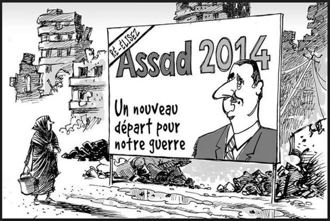 Reelejam Assad 2014 ― Um recomeço para nossa guerra by Patrick Chappatte, desenhista suíço