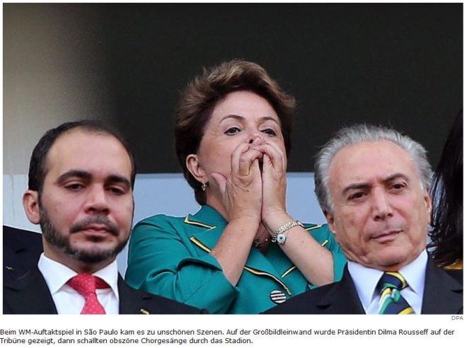 Assim que Dilma Rousseff apareceu no telão, um coro obsceno se levantou no estádio Foto DPA - Deutsche Presse-Agentur