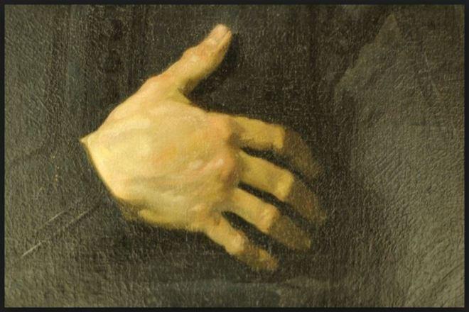 Homem com a mão no coração (detalhe) by Frans Hals, pintor flamengo, séc. XVI