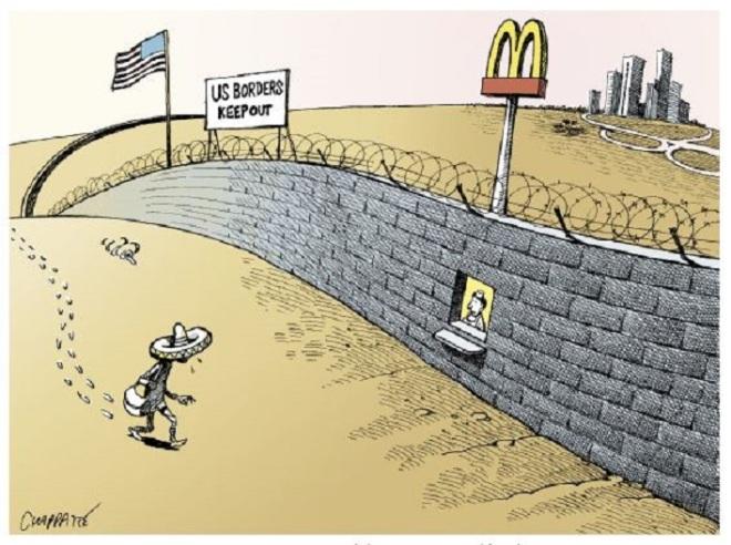 Fronteira dos EUA ― não se aproxime by Patrick Chappatte, desenhista suíço