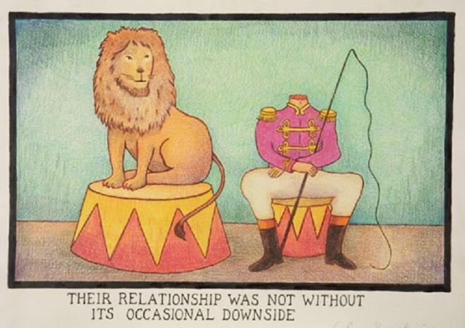 O relecionamento deles tinha seus altos e baixos. by Glen Baxter, desenhista inglês