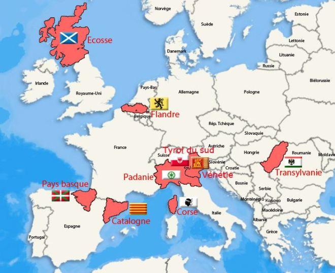 Regiões europeias onde vigora sentimento separatista