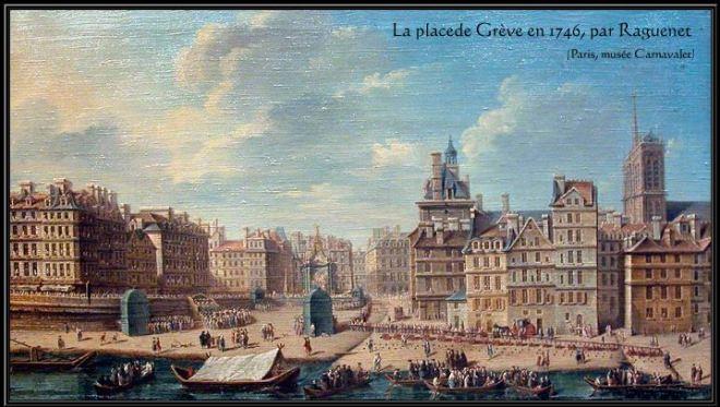 Place de Grève em 1746 Nicolas-Jean-Baptiste Raguenet (1715-1793)