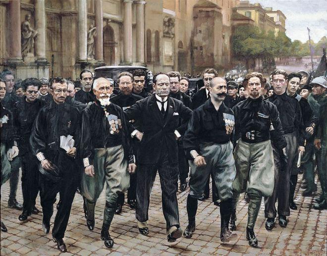 """""""Marcia su Roma"""" com Mussolini e seguidores by Giacomo Balla (1871-1958), pintor italiano"""