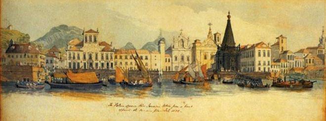 Aquarela do artista inglês William Smyth Porto do Rio de Janeiro visto de um navio - 1832